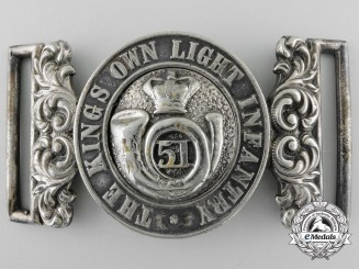 A Mid Victorian 51st King's Own Light Infantry Officer's Belt Buckle