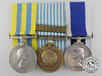 A Korean Conflict & Royal Navy Long Service Medal Bar to H.M.S. Excellent