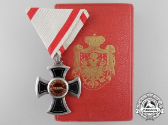 A Montenegrin Order of Danilo; Fifth Class Cross with Case