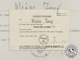 An Award Document for a Spanish Cross in Silver to Josef Weiss