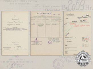A Croatian Preliminary Award to Heer Leutnant with Signature of Ante Pavelić