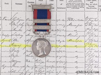 A 1845-46 Sutlej Medal to the  80th Regiment of Foot; DOD