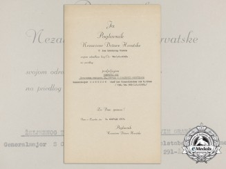 A Croatian Award Document for the Order of Iron Trefoil to German KC Recipient
