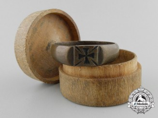 A First War Iron Cross Ring with Wooden Case