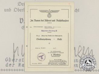 An Army Award Document to Oberstleutnant Hans Ludwig Müller