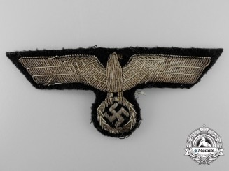 A Tunic Removed German Panzer Officer's Bullion Breast Eagle