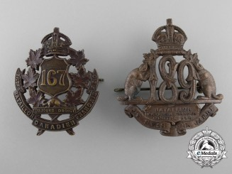 Two First War French Canadian Battalion Cap Badges