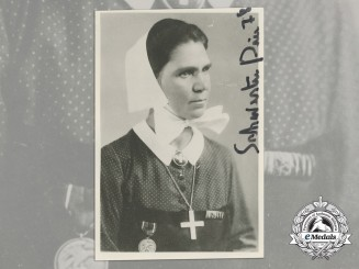 A Rare Blood Order Recipient Signed Photograph of Eleonore Baur (Sister Pia)