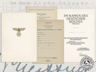 A German Eagle Order with Swords Award Document to Spanish Sergeant Don Ramon Linde Delgado