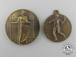 Two 1936 Spanish Olympic Medals & Awards