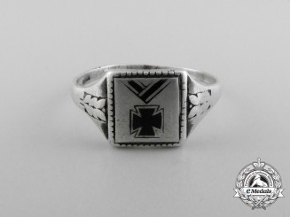 A German Imperial Silver Patriotic Ring with Iron Cross
