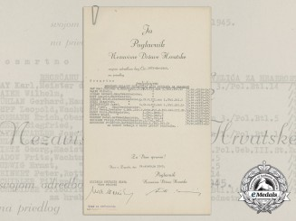A Croatian Preliminary Award to 14 German Officer's/EM with Signature of Ante Pavelić