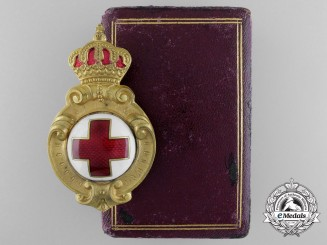 An 1887 Bulgarian Red Cross Badge with Case of Issue