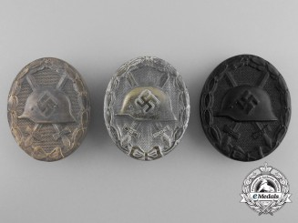 Three Wound Badges; Gold, Silver and Black Grades