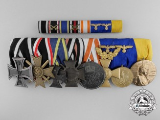 A First & Second War German Medal Bar of Eight; With Ribbon Bar and Case
