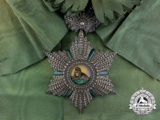 An Iranian Order of the Lion and Sun; 1st Class Grand Cross Badge by Halley of Paris