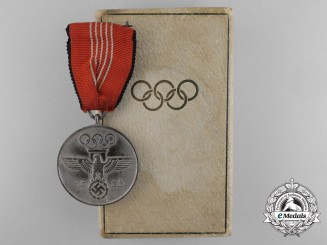 A 1936 XI Summer Berlin Olympic Games Medal with Case