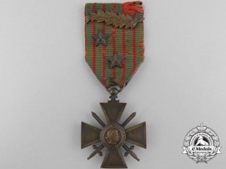 A First War French War Cross 1914-1918 with Palm and Stars