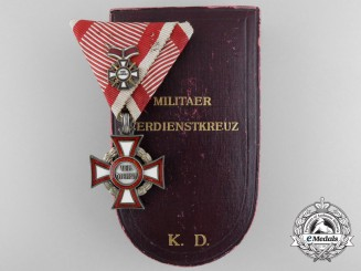 An Austrian Military Merit Cross by Rothe with 2nd Class Miniature