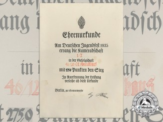 A German Youth Festival Honourary Award Certificate 1935