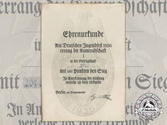 A German Youth Festival Honourary Award Certificate 1936
