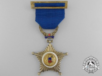 A Chilean Medal for Twenty Years' Military Service with Miniature & Case