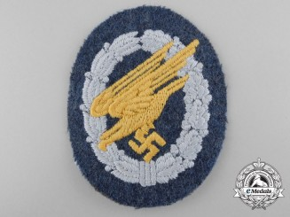 A Luftwaffe Paratrooper's Badge; Cloth Version