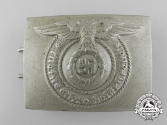 A Silver Nickle SS Enlisted Man's Belt Buckle by Overhoff and Cie