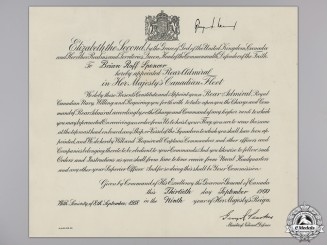 A Commission Documents Signed by Victoria Cross Recipient Pearkes