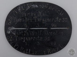 A First War German ID Tag to the Pioneer Battalion