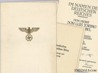 A German Eagle Order 1st Class Document to Spanish Air Force