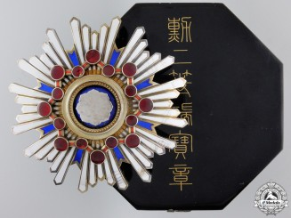 A Japanese Order of the Sacred Treasure; 2nd Class Breast Star with Case
