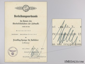 A Reconnaissance Clasp Award Document to 15th Close Range Group