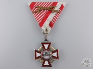 An Austrian Military Merit Cross with Decoration by V.Mayer