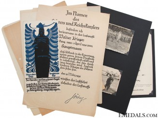 An Early Luftwaffe Group of Award Documents