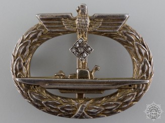 An Extremely Rare Kriegsmarine Submarine Badge with Diamonds, Published Example