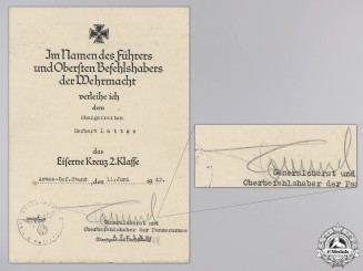 An Iron Cross 2nd Class Award Document Signed by Rommel
