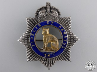 An Officer's 34th Ontario Regiment Badge