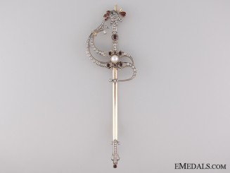 An Unusual Miniature French Sword in Gold & Diamonds