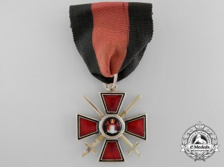An Imperial Russian Order of St. Vladimir 4th Class; Military Division in Gold