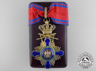 An Order of the Star of Romania; Commander with Crossed Swords & Case