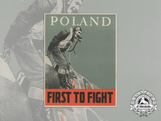 """A Second World War Polish Air Force """"First to Fight"""" Allied Co-Operation Poster"""