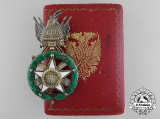An Albanian Order of Scanderbeg; Officer's Badge by D. Cravanzola, Roma with Case