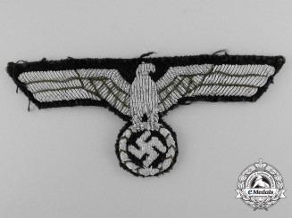 An Officer's Army-Panzer Style Breast Eagle on Black Wool Backing