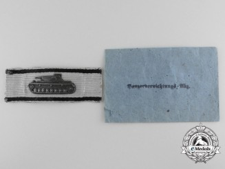 A Tank Destruction Badge; Uniform Removed with Pocket of Issue