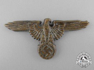 An Early SS Visor Cap Eagle in Tombac; RZM Marked