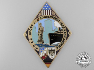 An ADAC Sport Student Cruise to America Automobile Grill Plate 1928
