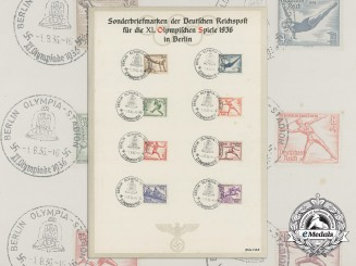 """A German Post Office """"Reichspost"""" XI Berlin Summer Olympic Games Stamps Sheet"""