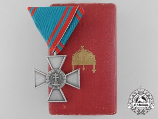 A Hungarian Order of Merit; Silver Merit Cross in Silver with Case