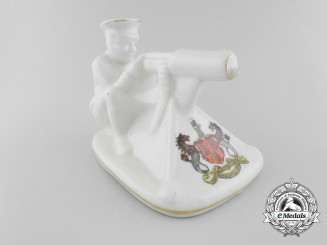 """An Arcadian China """"Tommy and His Machine Gun"""" Newcastle upon Tyne Crested Figurine"""